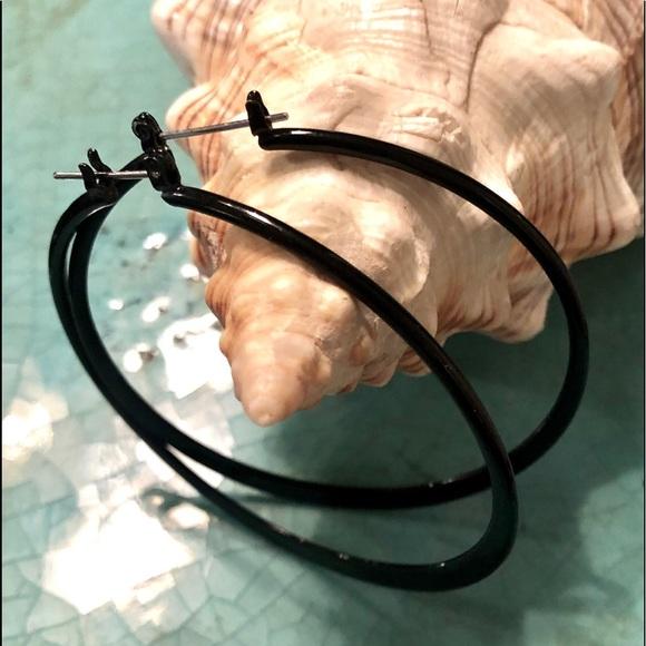 Jewelry - Large Black hoop earrings